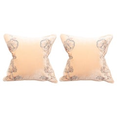 Contemporary Pair of Nude Silk Velvet Pillow with Floral Embroidery