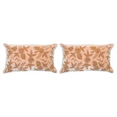 Contemporary Pair of Nude Silk Velvet Pillow with Metallic Embroidery