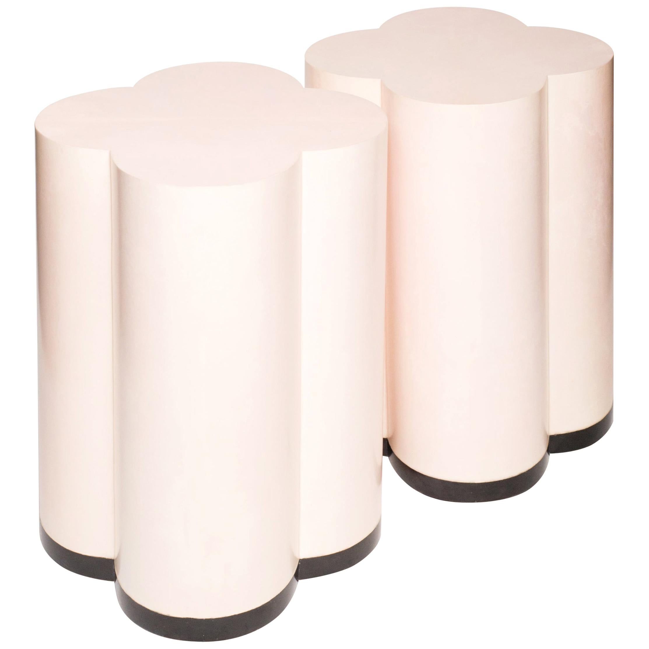 Contemporary Pair of Pale Pink Parchment Leather Clover Drum Tables