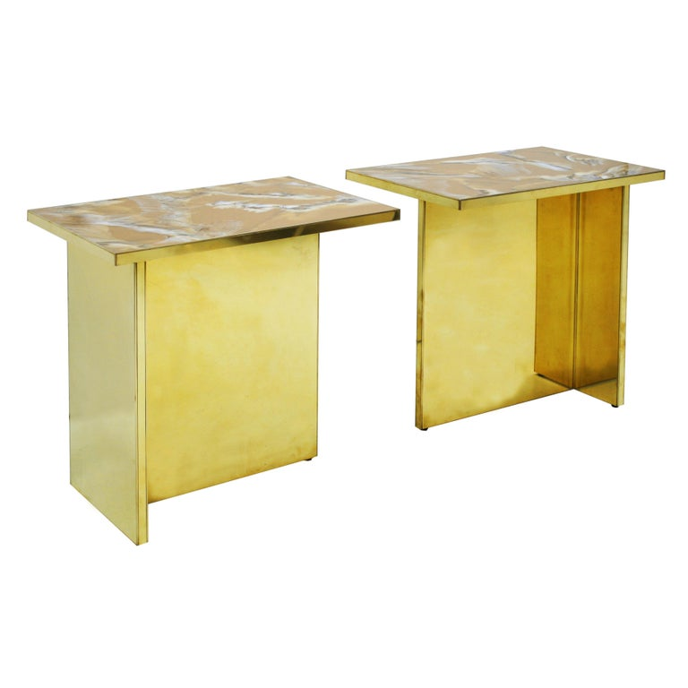 Contemporary Pair Of Perplex And Brass Coffee Tables For