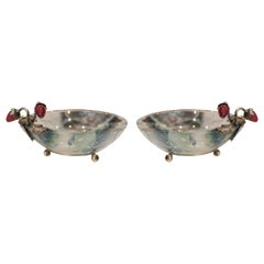 Contemporary Pair of Pestelli Fluorite Bowls with Silver Leaves & Stone Berries