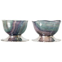 Contemporary Pair of Purple & Blue Banded Fluorite Bowls with 925 Silver Bases