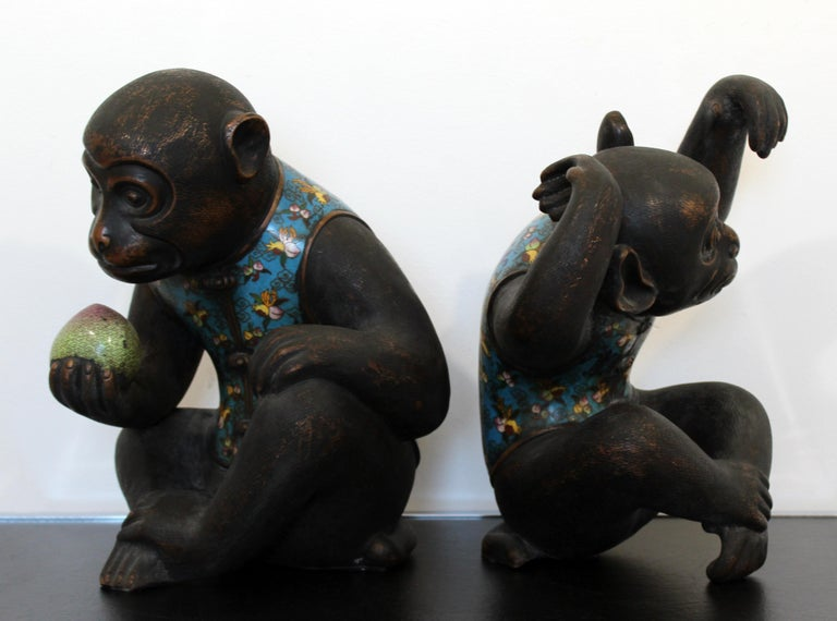 Contemporary Pair of Robert Kuo Metal Cloisonné Monkey Table Sculptures Blue 7