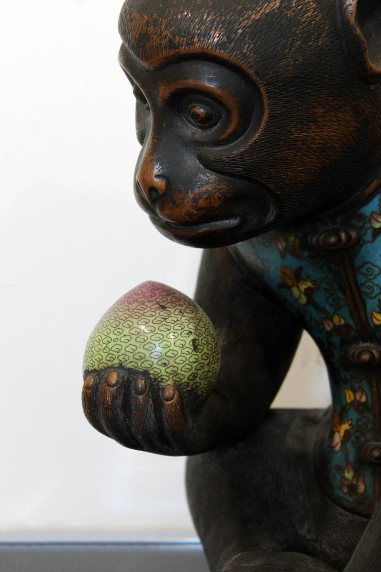 Contemporary Pair of Robert Kuo Metal Cloisonné Monkey Table Sculptures Blue 8