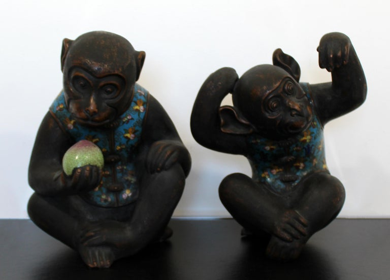Contemporary Pair of Robert Kuo Metal Cloisonné Monkey Table Sculptures Blue In Good Condition In Keego Harbor, MI