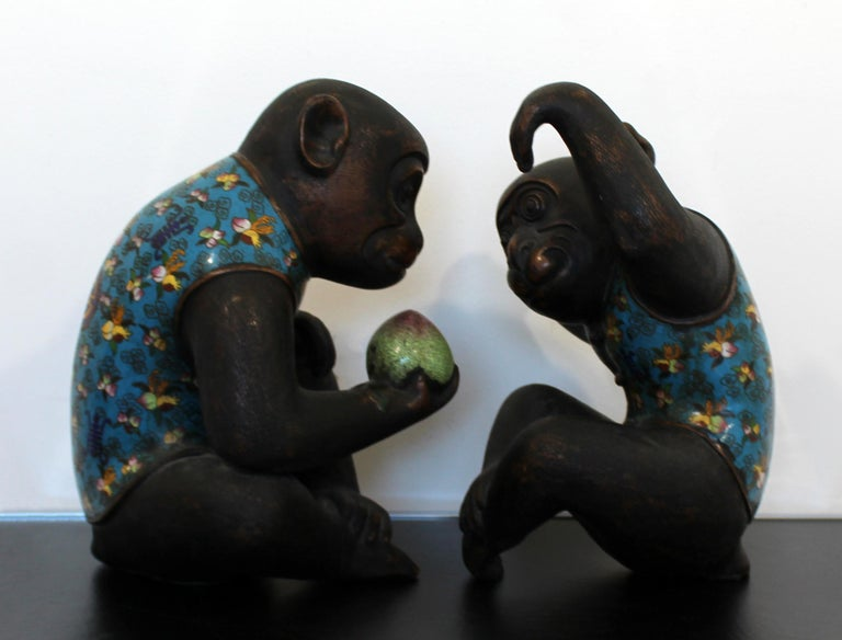 Contemporary Pair of Robert Kuo Metal Cloisonné Monkey Table Sculptures Blue 1