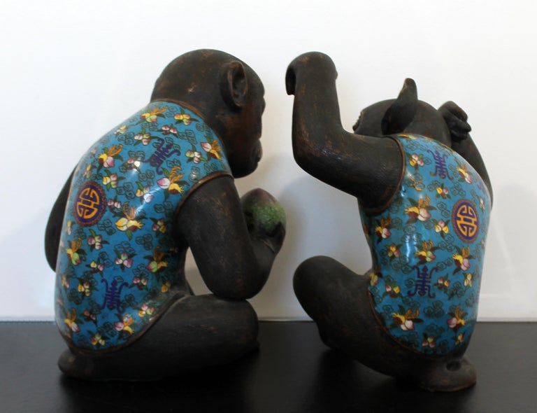 Contemporary Pair of Robert Kuo Metal Cloisonné Monkey Table Sculptures Blue 2