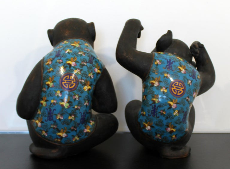 Contemporary Pair of Robert Kuo Metal Cloisonné Monkey Table Sculptures Blue 3