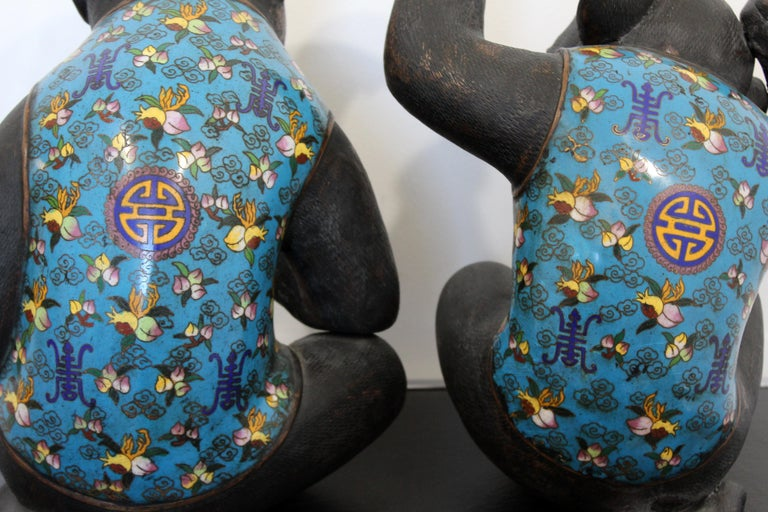 Contemporary Pair of Robert Kuo Metal Cloisonné Monkey Table Sculptures Blue 4