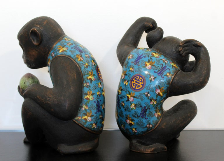 Contemporary Pair of Robert Kuo Metal Cloisonné Monkey Table Sculptures Blue 6