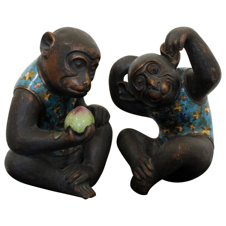 Contemporary Pair of Robert Kuo Metal Cloisonné Monkey Table Sculptures Blue