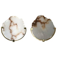 Contemporary Pair of Sconces Alabaster and Brass, Italy