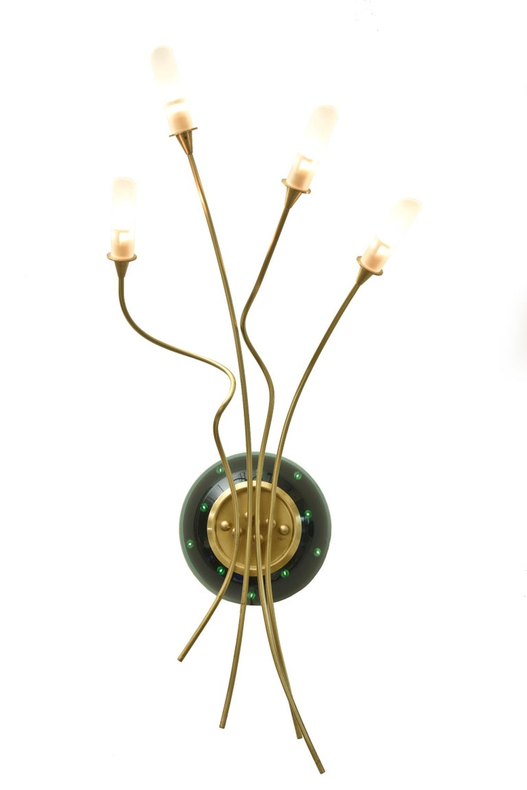 Unknown Contemporary Pair of Sculptural Murano Glass Infinity and Brass Sconces For Sale