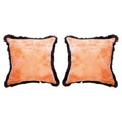 Contemporary Pair of Shaded Rose Silk Velvet Pillows with Fringe Border