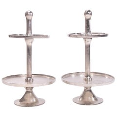 Contemporary Pair of Silvered Metal Two-Tier Serving Étagères