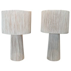 Contemporary Pair of Spanish Handcrafted Table Lamps w/ Shades