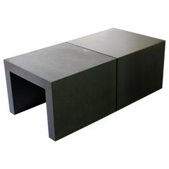 Contemporary Pair of Square Metal Coffee or Side End Tables