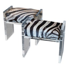 Contemporary Pair of Stools, Zebra Skin and Clear Plexiglass, Italy, 2020