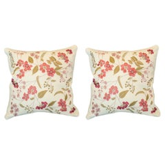 Contemporary Pair of Tassia Silk Pillows with Ornate Floral Embroidery