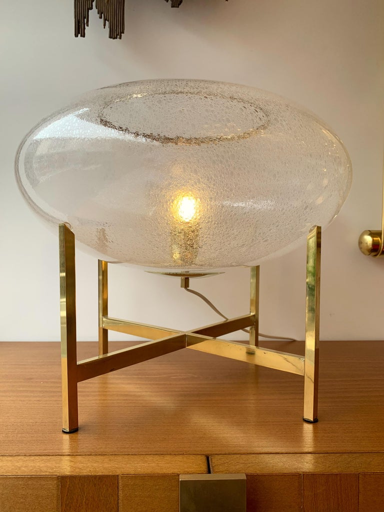 Mid-Century Modern Contemporary Pair of UFO Brass and Murano Glass Lamps For Sale