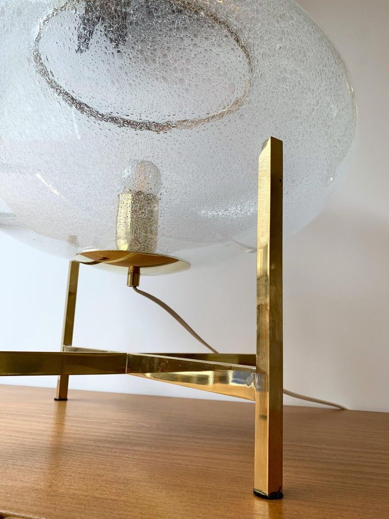 Italian Contemporary Pair of UFO Brass and Murano Glass Lamps For Sale