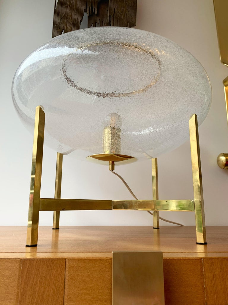 Contemporary Pair of UFO Brass and Murano Glass Lamps In New Condition For Sale In SAINT-OUEN, FR