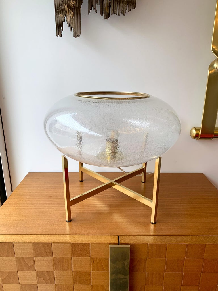 Contemporary Pair of UFO Brass and Murano Glass Lamps For Sale 2