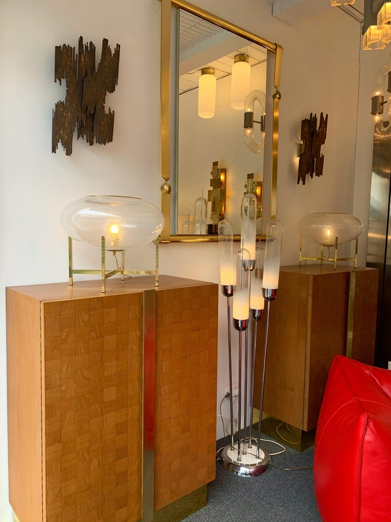 Contemporary Pair of UFO Brass and Murano Glass Lamps For Sale 4