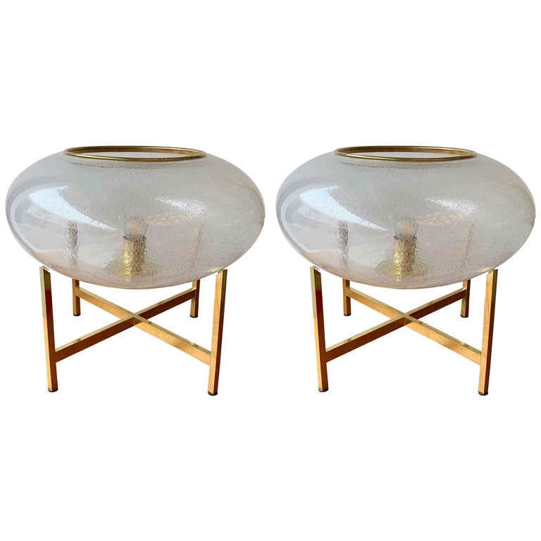 Contemporary Pair of UFO Brass and Murano Glass Lamps For Sale