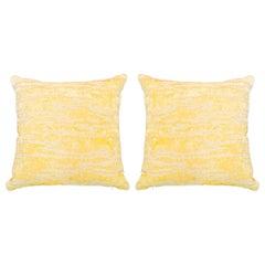 Contemporary Pair of Yellow Velvet Sabina Fay Braxton Sylvania Pillows