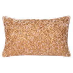 Contemporary Pale Pink Silk Velvet Pillow with Metallic Embroidery