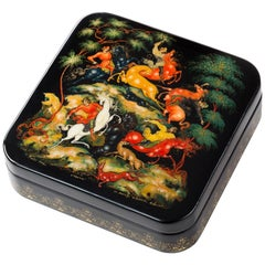 Contemporary Palekh Lacquered Miniature Box, Russian Craft, Famous Since 1924