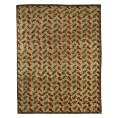 Contemporary Palette Beige, Brown and Blue Handwoven Wool Rug