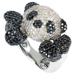 """Contemporary """"Panda"""" Cocktail Ring with Diamonds in 19.2 Karat White Gold"""