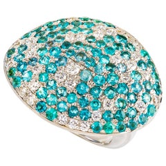 Contemporary Paraiba Tourmaline and Diamond Cocktail Ring in White Gold