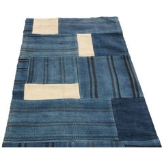 Contemporary Patchwork Blue and White Wool Runner