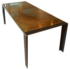Contemporary Patinated Copper Dining Table, Industrial Steel Legs