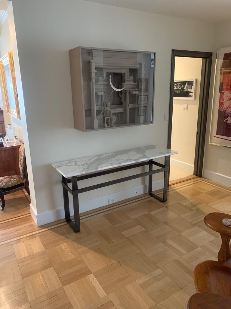 Contemporary Patinated Stainless Steel Console with Marble Top by Scott Gordon For Sale 7