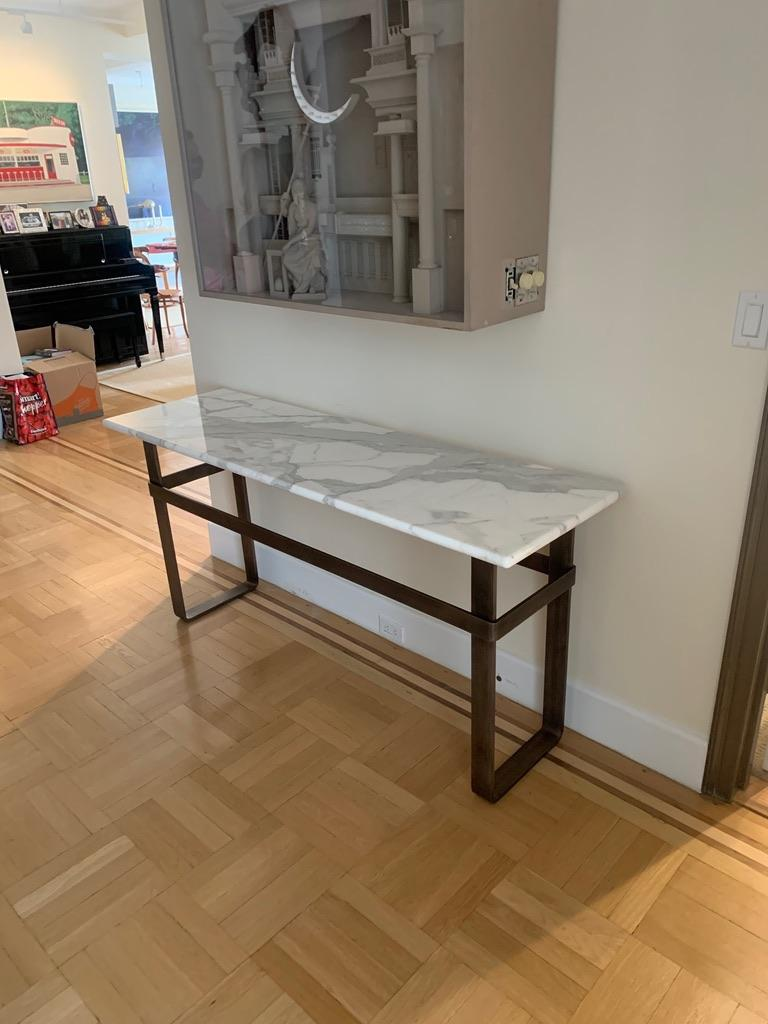 Contemporary Patinated Stainless Steel Console with Marble Top by Scott Gordon For Sale 8