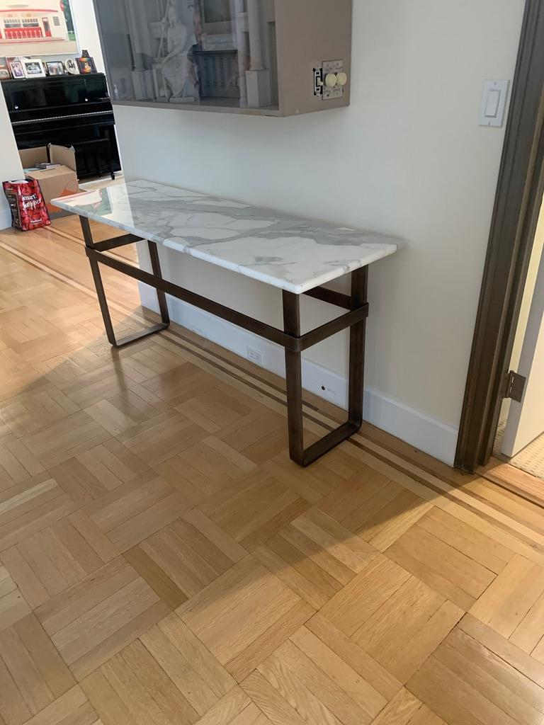 Contemporary Patinated Stainless Steel Console with Marble Top by Scott Gordon For Sale 9
