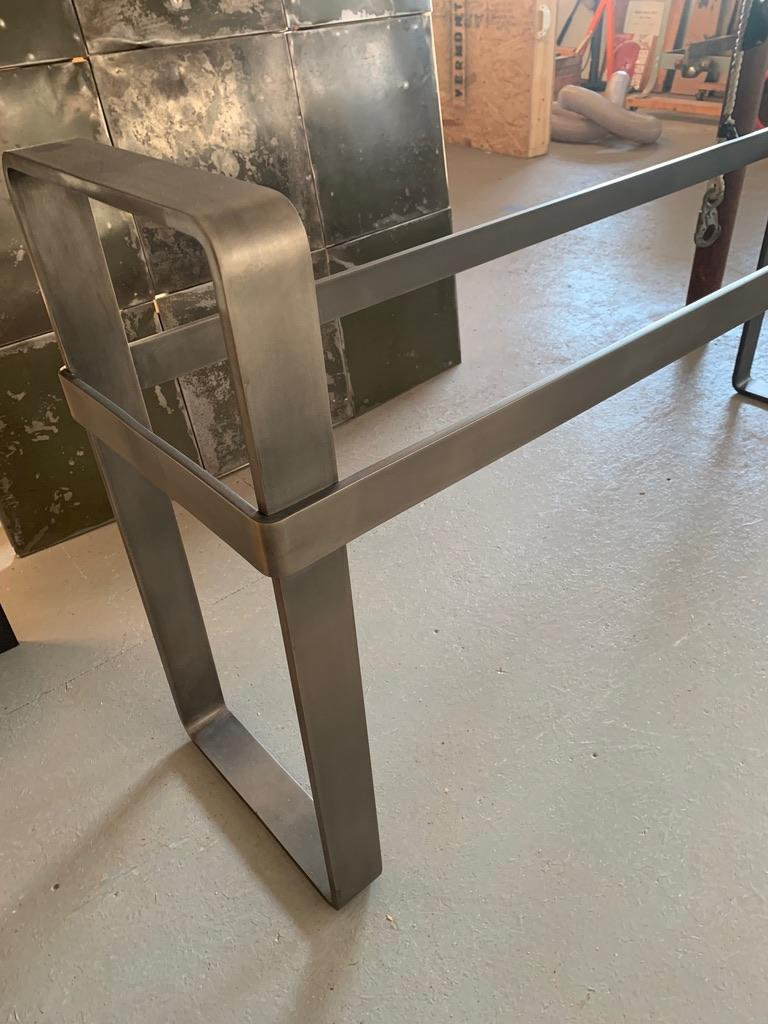 Contemporary Patinated Stainless Steel Console with Marble Top by Scott Gordon For Sale 10