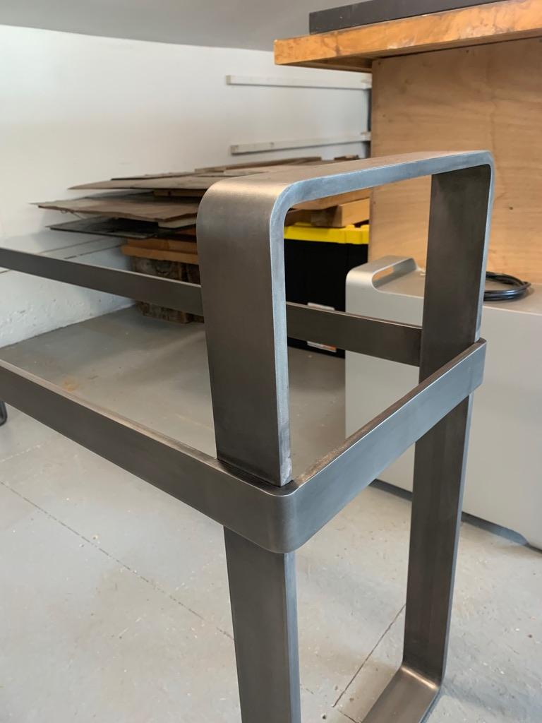 Contemporary Patinated Stainless Steel Console with Marble Top by Scott Gordon For Sale 11