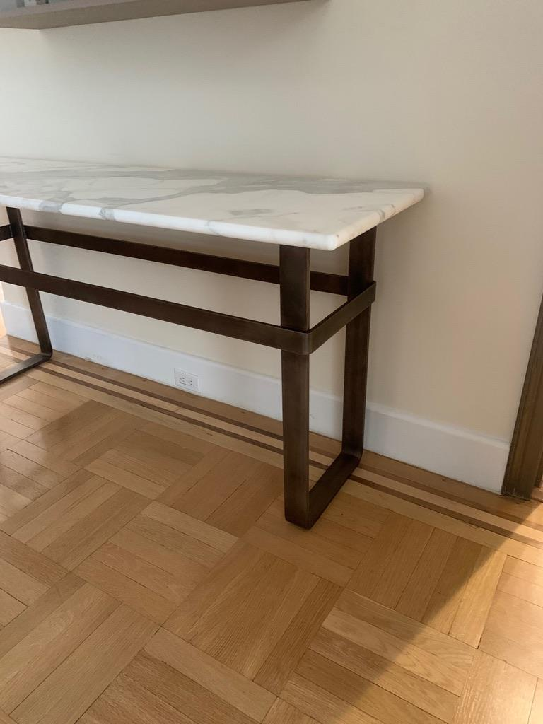 Contemporary Patinated Stainless Steel Console with Marble Top by Scott Gordon For Sale 14