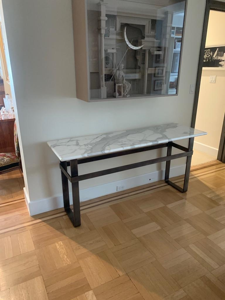 Minimalist Contemporary Patinated Stainless Steel Console with Marble Top by Scott Gordon For Sale