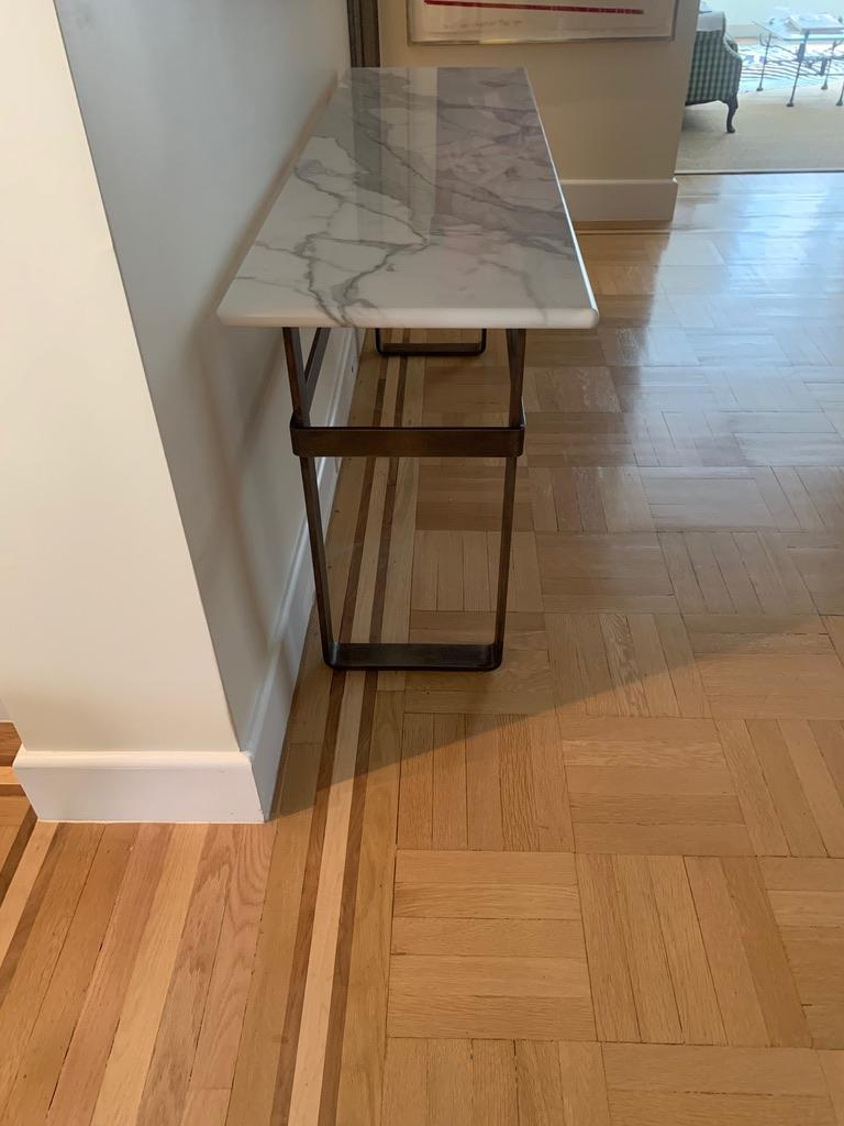 American Contemporary Patinated Stainless Steel Console with Marble Top by Scott Gordon For Sale
