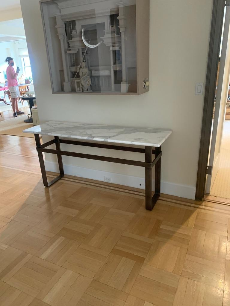 Contemporary Patinated Stainless Steel Console with Marble Top by Scott Gordon For Sale 1