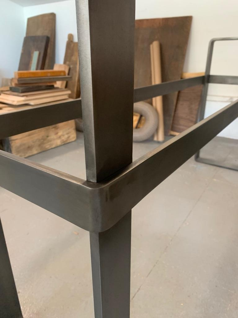 Contemporary Patinated Stainless Steel Console with Marble Top by Scott Gordon For Sale 2