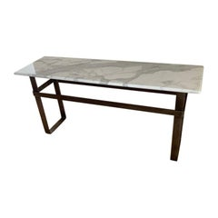 Contemporary Patinated Stainless Steel Console with Marble Top by Scott Gordon