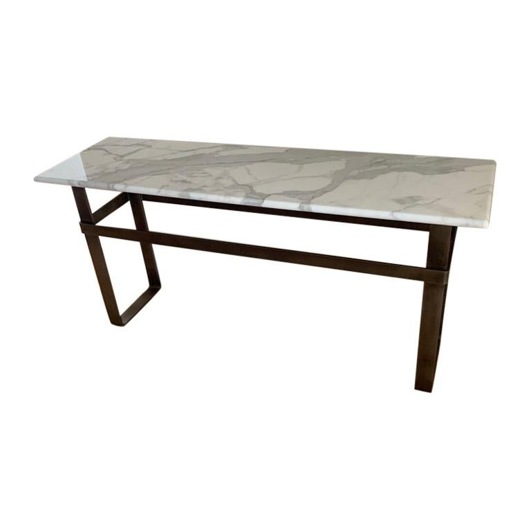 Contemporary Patinated Stainless Steel Console with Marble Top by Scott Gordon For Sale