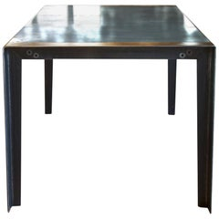 Contemporary Patinated Zinc Dining Table, Industrial Steel Legs